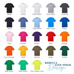 Kids Standard Crew Neck Colour Chart