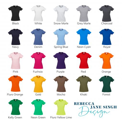 Ladies Standard Crew Neck Colour Chart