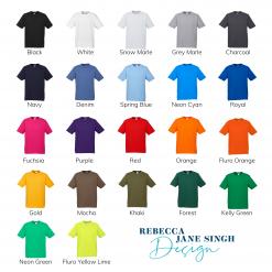 Mens Standard Crew Neck Colour Chart