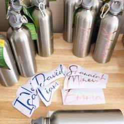 Drink Bottle Name Labels Standard Dark Blue & Premium Rose Gold Foil