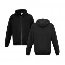 Kids Black Zippered Jacket with Hood Front & Back