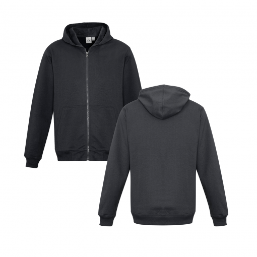 Kids Charcoal Zippered Jacket with Hood Front & Back