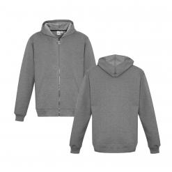 Kids Grey Marle Zippered Jacket with Hood Front & Back