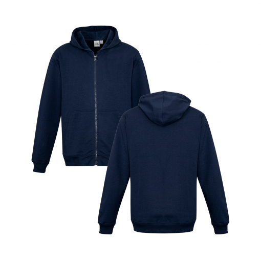Kids Navy Zippered Jacket with Hood Front & Back