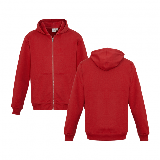Kids Red Zippered Jacket with Hood Front & Back