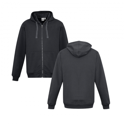 Charcoal Zippered Jacket with Hood Front & Back