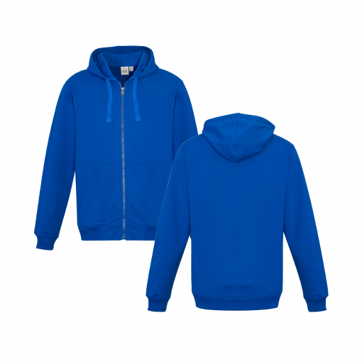 Royal Blue Zippered Jacket with Hood Front & Back