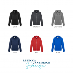 Adults Zippered Jacket with Hood Colour Chart