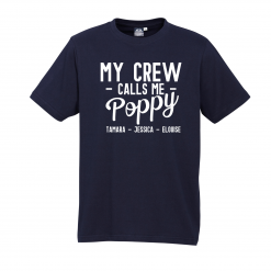 My Crew Call Me Poppy Navy Tee with White Design